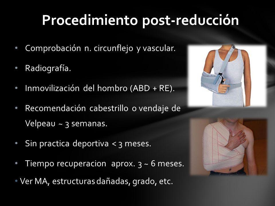 Procedimiento post-reducción Comprobación n. circunflejo y vascular. Radiografía. Inmovilización del hombro (ABD + RE). Recomendación cabestrillo o ve