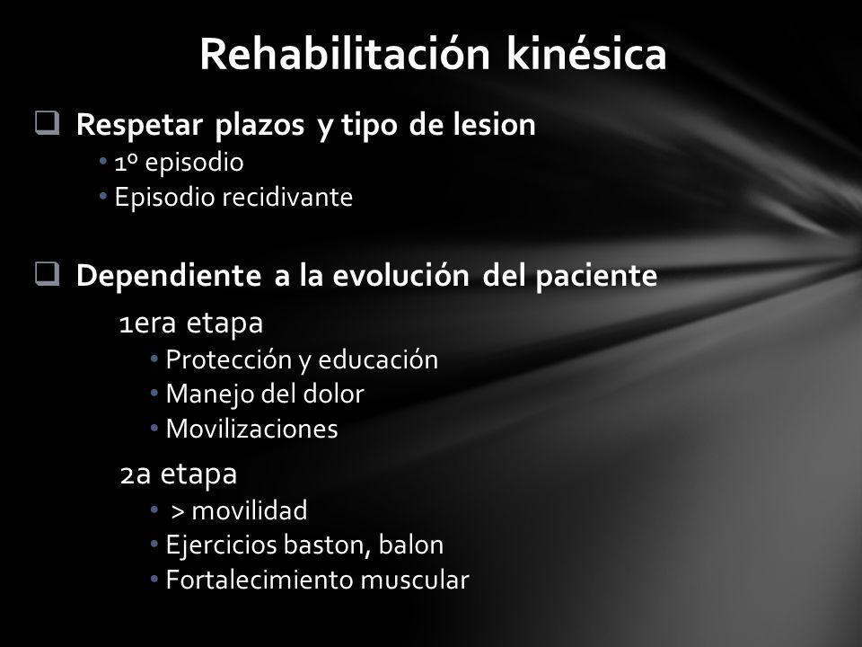 Rehabilitación kinésica Respetar plazos y tipo de lesion 1º episodio Episodio recidivante Dependiente a la evolución del paciente 1era etapa Protecció