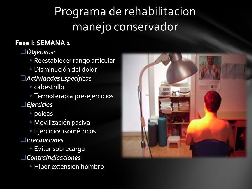Programa de rehabilitacion manejo conservador Fase I: SEMANA 1 Objetivos: Reestablecer rango articular Disminución del dolor Actividades Específicas c