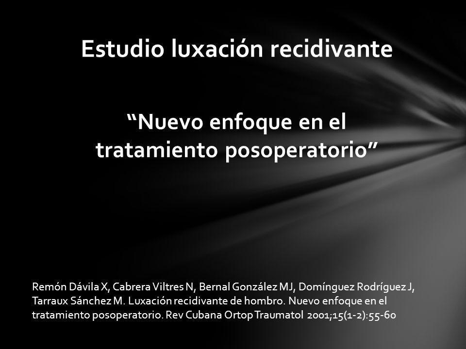 Nuevo enfoque en el tratamiento posoperatorio Estudio luxación recidivante Remón Dávila X, Cabrera Viltres N, Bernal González MJ, Domínguez Rodríguez