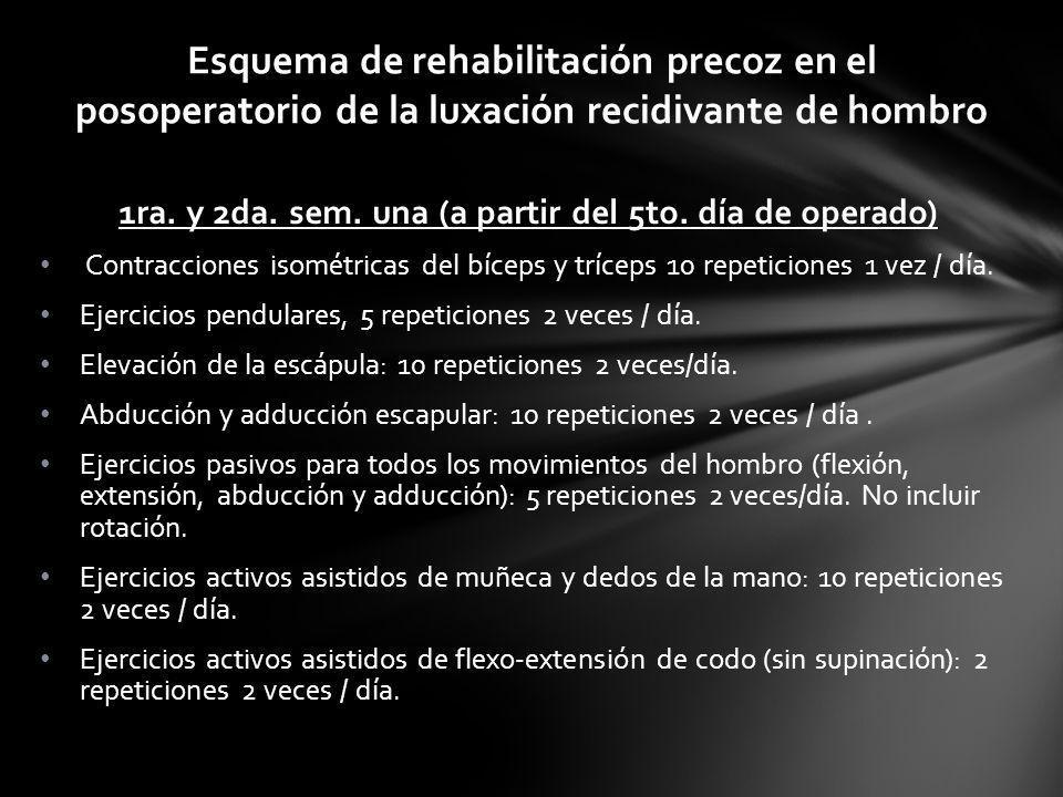 Esquema de rehabilitación precoz en el posoperatorio de la luxación recidivante de hombro 1ra. y 2da. sem. una (a partir del 5to. día de operado) Cont