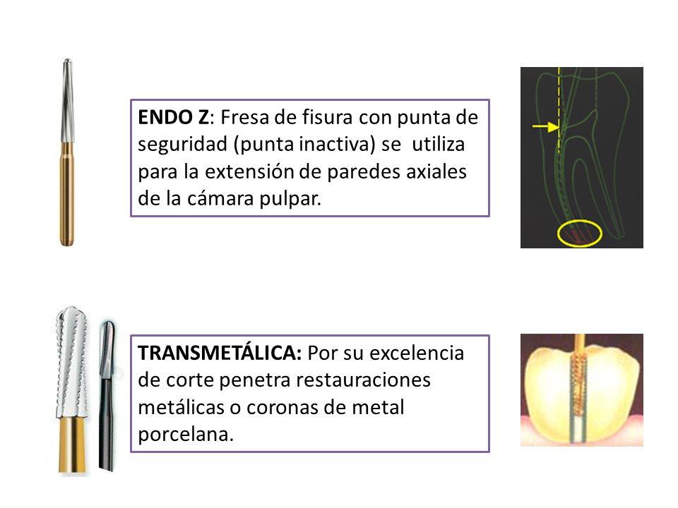 ENDO Z: Fresa de fisura con punta de seguridad (punta inactiva) se utiliza para la extensión de paredes axiales de la cámara pulpar. TRANSMETÁLICA: Po