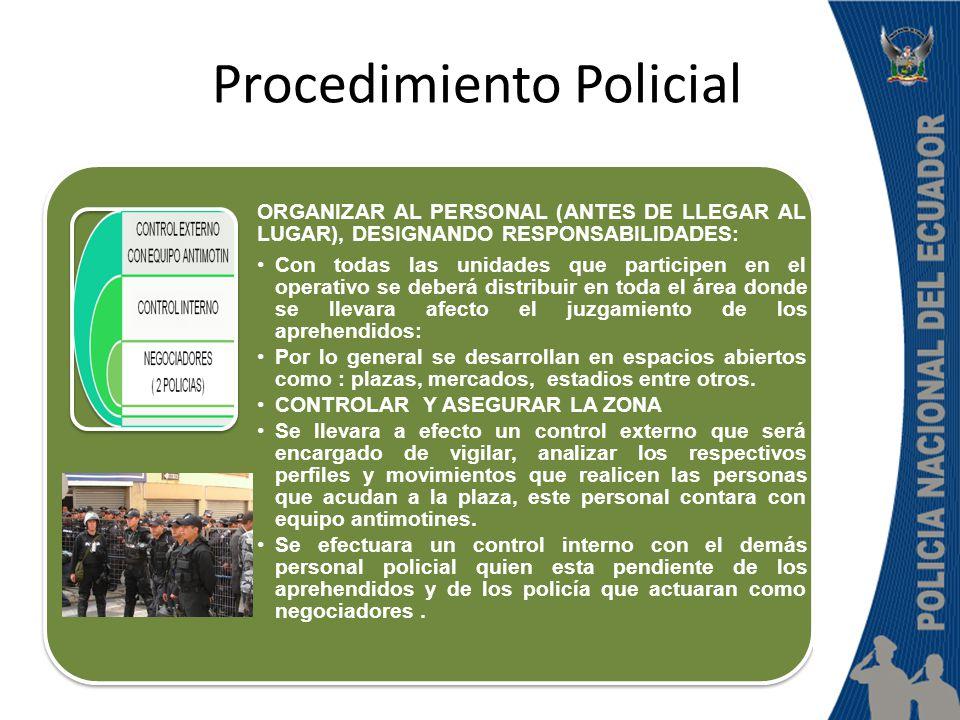 Procedimiento Policial EQUIPO DE NEGOCIADORES estará constituido por dos policías sea oficial o clase, los cuales estarán a cargo de tomar contacto con los dirigentes de la comunidad.