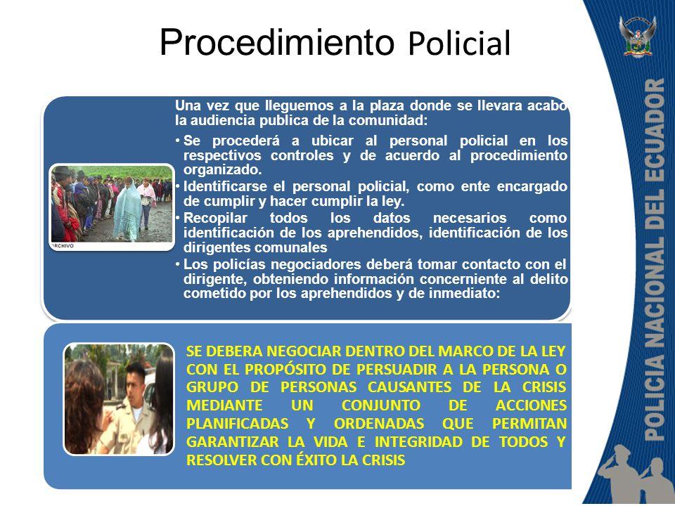DELITO COMETIDO PROCEDIMIENTO POLICIAL EN BASE A LAS ESTADISTICAS CONOCIDAS EL PROCEDIMIENTO POLICIAL DEBE DE REALIZARSE CON TODO EL PROFESIONALISMO, EVITANDO QUE SE PRODUZCA O ORIGINE LA MUERTE O LESIONES DE LA PERSONA APREHENDIDA POR EL POPULACHO, MANEJANDO LA CRISIS DE UNA FORMA CORRECTA MANEJO DE CRISIS Es la alteración grave del orden público, previsible o imprevisible, ocasionada por acción humana o de la naturaleza, que puede afectar la vida e integridad de las personas, la propiedad pública o privada, las relaciones internacionales del Estado o la seguridad nacional, demandando una respuesta especial de la Policía y, en algunos casos, la intervención de las más altas autoridades del gobierno.