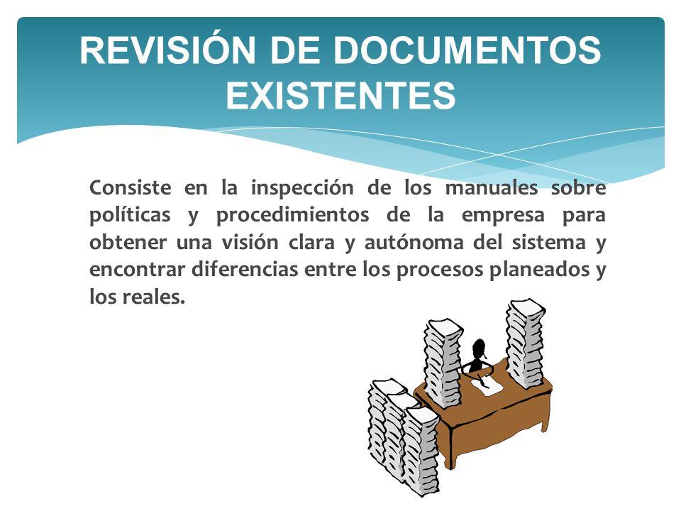 Consiste en la inspección de los manuales sobre políticas y procedimientos de la empresa para obtener una visión clara y autónoma del sistema y encontrar diferencias entre los procesos planeados y los reales.