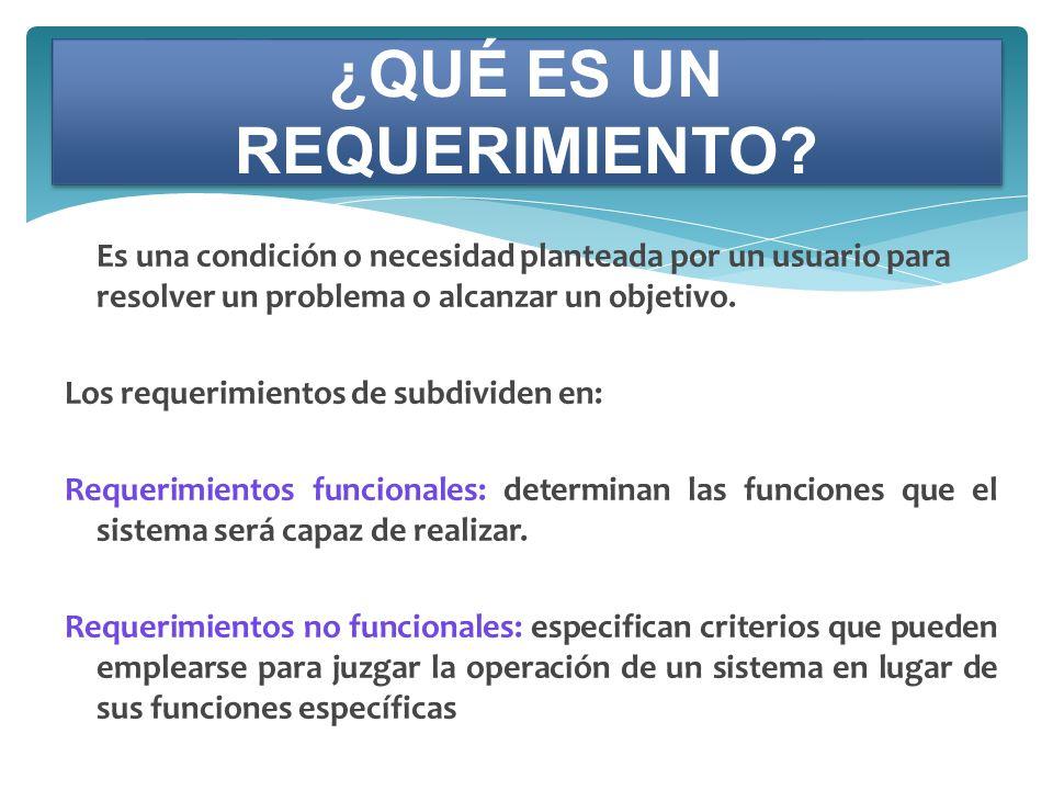 Es una condición o necesidad planteada por un usuario para resolver un problema o alcanzar un objetivo. Los requerimientos de subdividen en: Requerimi