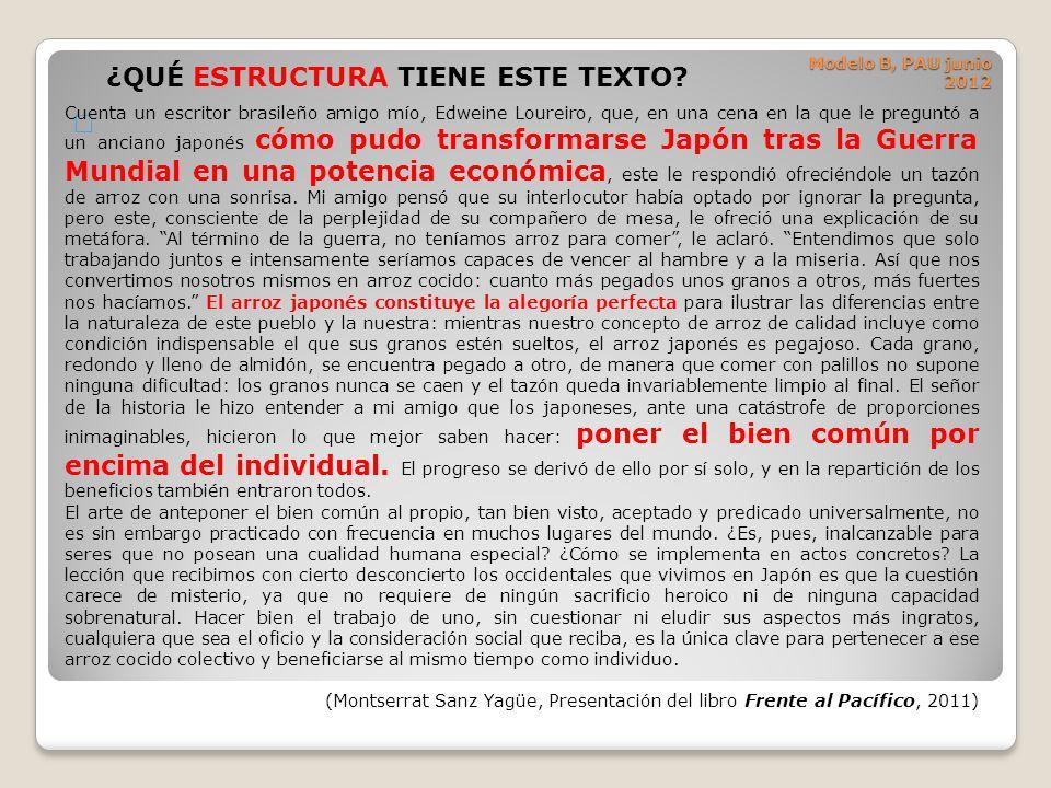 Modelo B, PAU junio 2012 … ¿QUÉ ESTRUCTURA TIENE ESTE TEXTO? Cuenta un escritor brasileño amigo mío, Edweine Loureiro, que, en una cena en la que le p