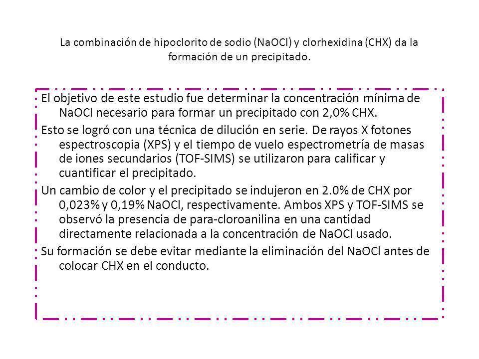 La combinación de hipoclorito de sodio (NaOCl) y clorhexidina (CHX) da la formación de un precipitado.
