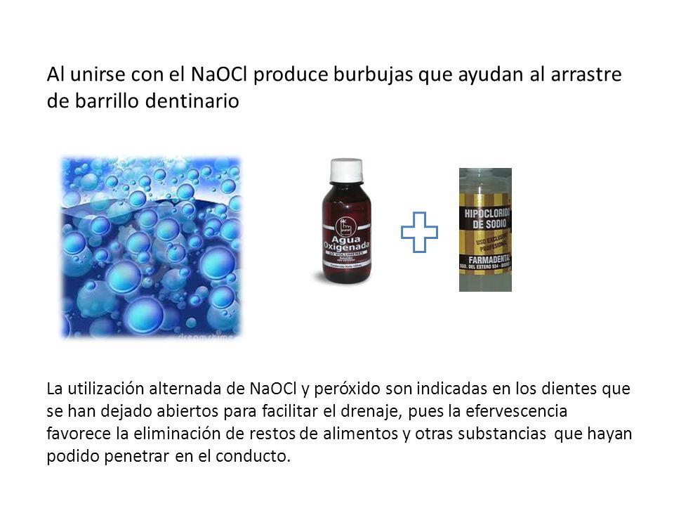 Al unirse con el NaOCl produce burbujas que ayudan al arrastre de barrillo dentinario La utilización alternada de NaOCl y peróxido son indicadas en lo