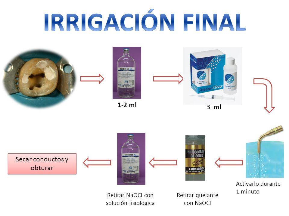 1-2 ml Activarlo durante 1 minuto 3 ml Retirar quelante con NaOCl Retirar NaOCl con solución fisiológica Secar conductos y obturar