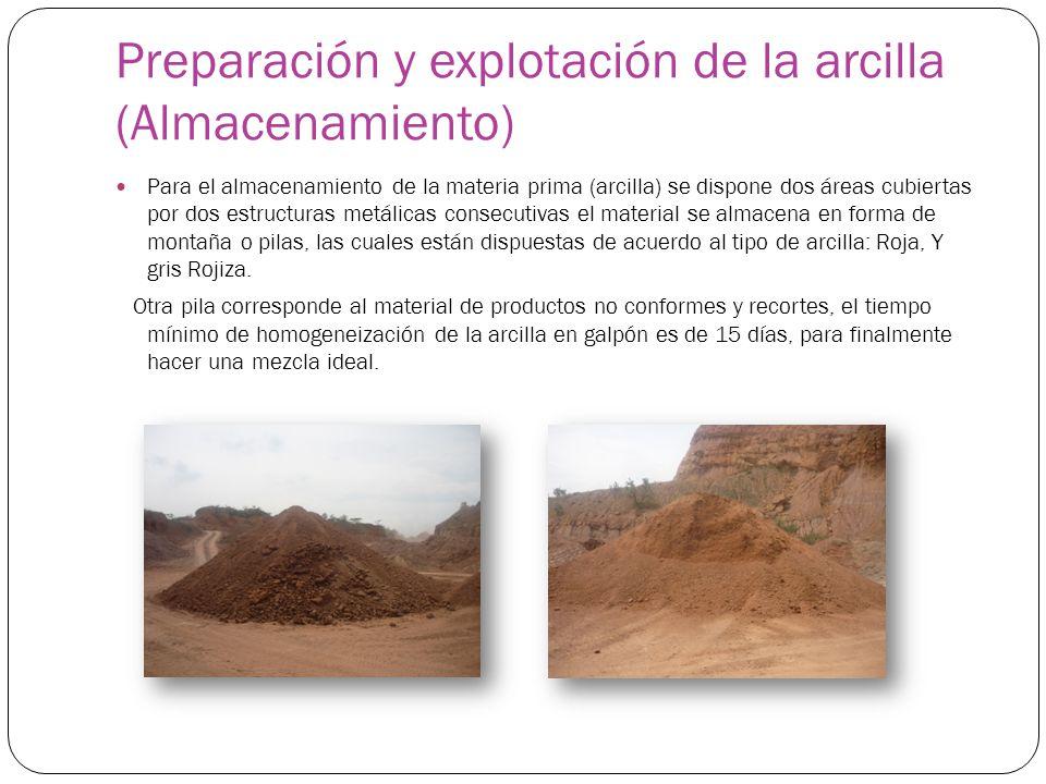 Preparación y explotación de la arcilla (Almacenamiento) Para el almacenamiento de la materia prima (arcilla) se dispone dos áreas cubiertas por dos e