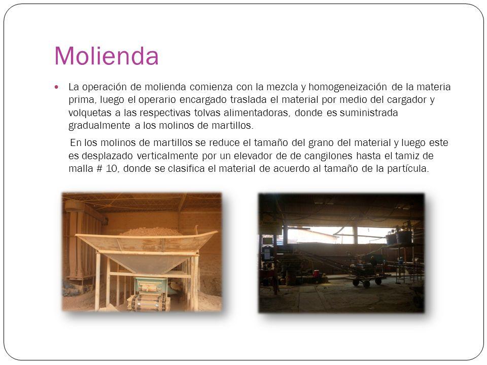Molienda La operación de molienda comienza con la mezcla y homogeneización de la materia prima, luego el operario encargado traslada el material por m