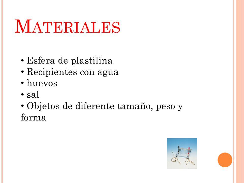 M ATERIALES Esfera de plastilina Recipientes con agua huevos sal Objetos de diferente tamaño, peso y forma