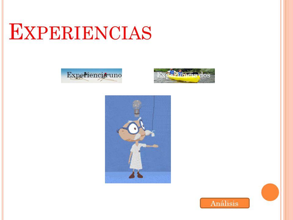 E XPERIENCIAS Experiencia unoExperiencia dos Análisis