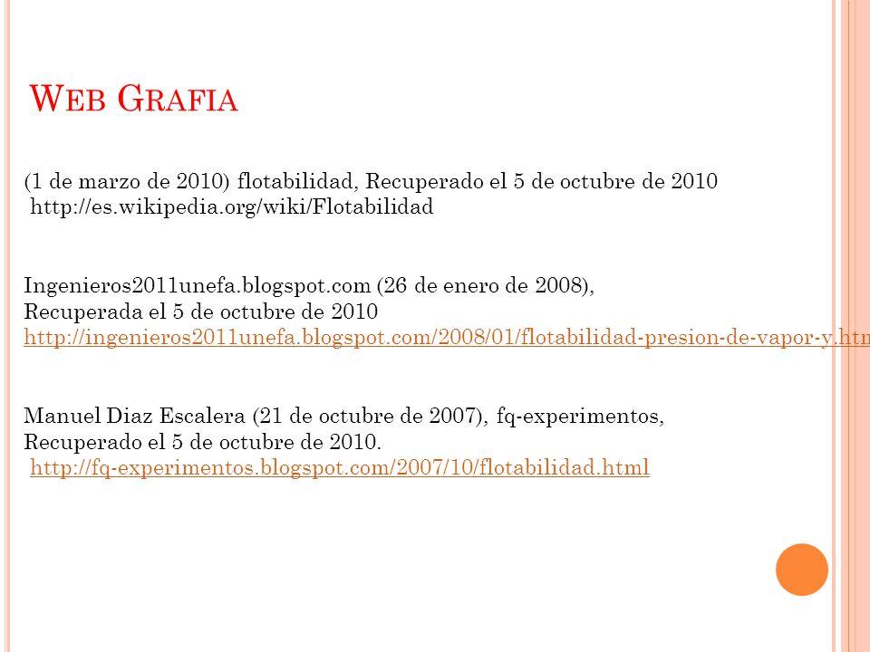 W EB G RAFIA (1 de marzo de 2010) flotabilidad, Recuperado el 5 de octubre de 2010 http://es.wikipedia.org/wiki/Flotabilidad Ingenieros2011unefa.blogspot.com (26 de enero de 2008), Recuperada el 5 de octubre de 2010 http://ingenieros2011unefa.blogspot.com/2008/01/flotabilidad-presion-de-vapor-y.html Manuel Diaz Escalera (21 de octubre de 2007), fq-experimentos, Recuperado el 5 de octubre de 2010.