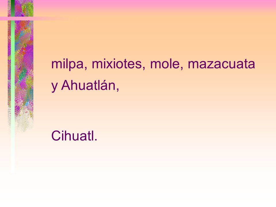 milpa, mixiotes, mole, mazacuata y Ahuatlán, Cihuatl.