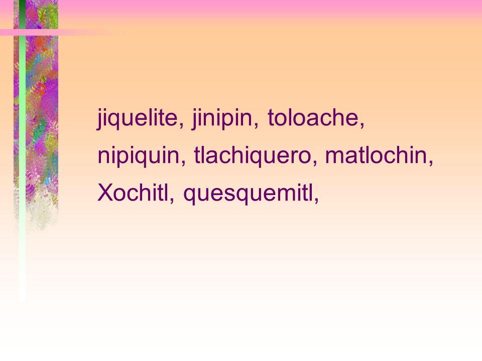 jiquelite, jinipin, toloache, nipiquin, tlachiquero, matlochin, Xochitl, quesquemitl,