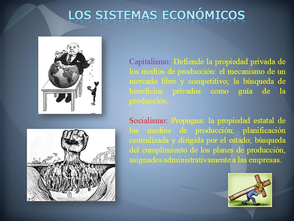 Capitalismo: Defiende la propiedad privada de los medios de producción: el mecanismo de un mercado libre y competitivo; la búsqueda de beneficios priv