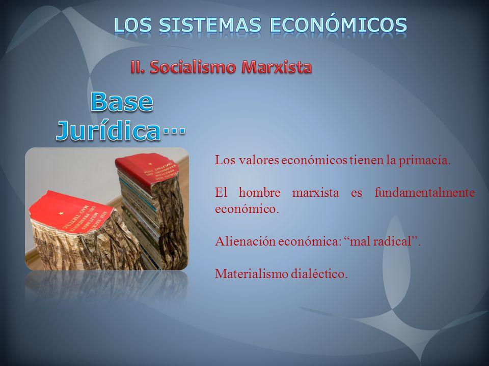 Los valores económicos tienen la primacía. El hombre marxista es fundamentalmente económico. Alienación económica: mal radical. Materialismo dialéctic