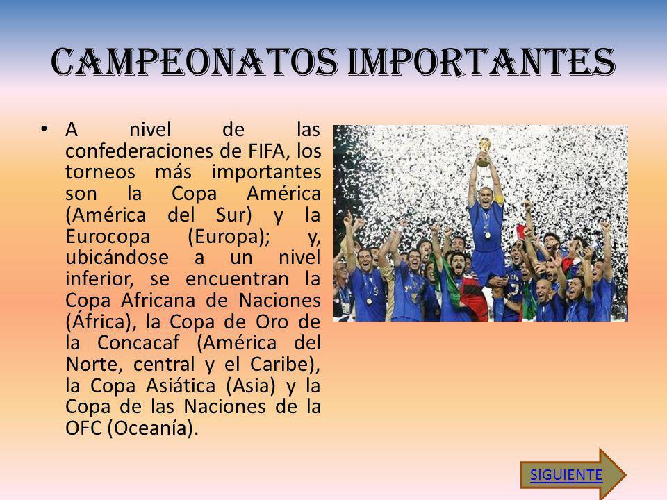CAMPEONATOS IMPORTANTES A nivel de las confederaciones de FIFA, los torneos más importantes son la Copa América (América del Sur) y la Eurocopa (Europa); y, ubicándose a un nivel inferior, se encuentran la Copa Africana de Naciones (África), la Copa de Oro de la Concacaf (América del Norte, central y el Caribe), la Copa Asiática (Asia) y la Copa de las Naciones de la OFC (Oceanía).