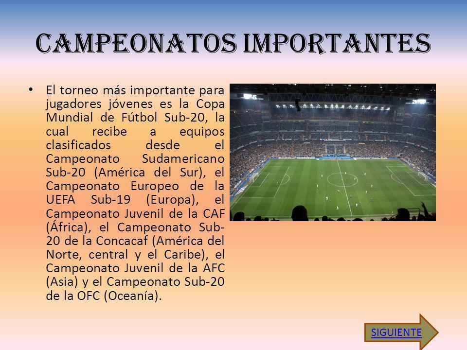 CAMPEONATOS IMPORTANTES El torneo más importante para jugadores jóvenes es la Copa Mundial de Fútbol Sub-20, la cual recibe a equipos clasificados desde el Campeonato Sudamericano Sub-20 (América del Sur), el Campeonato Europeo de la UEFA Sub-19 (Europa), el Campeonato Juvenil de la CAF (África), el Campeonato Sub- 20 de la Concacaf (América del Norte, central y el Caribe), el Campeonato Juvenil de la AFC (Asia) y el Campeonato Sub-20 de la OFC (Oceanía).