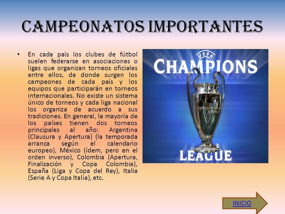 CAMPEONATOS IMPORTANTES En cada país los clubes de fútbol suelen federarse en asociaciones o ligas que organizan torneos oficiales entre ellos, de donde surgen los campeones de cada país y los equipos que participarán en torneos internacionales.