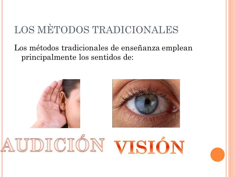 LOS MÈTODOS TRADICIONALES Los métodos tradicionales de enseñanza emplean principalmente los sentidos de:
