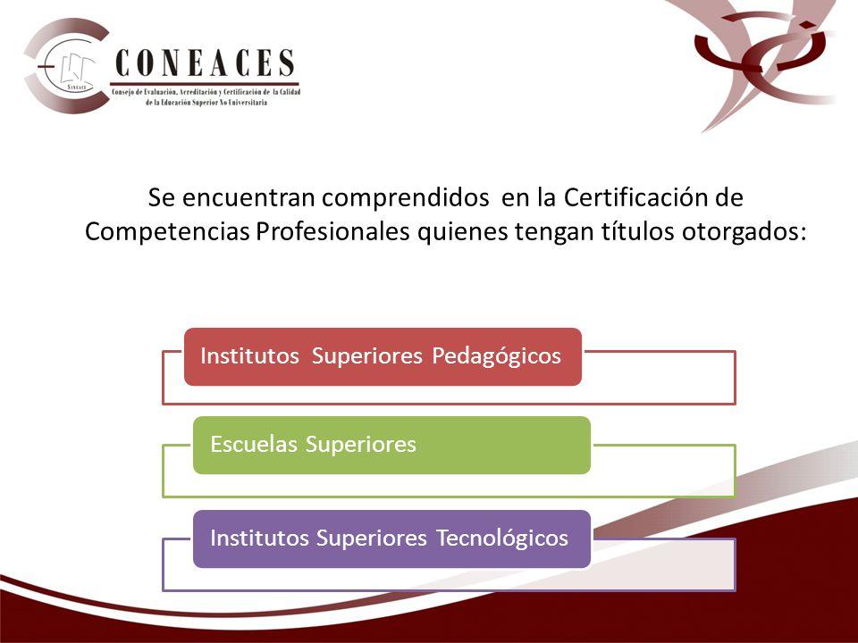 Se encuentran comprendidos en la Certificación de Competencias Profesionales quienes tengan títulos otorgados: Institutos Superiores PedagógicosEscuel