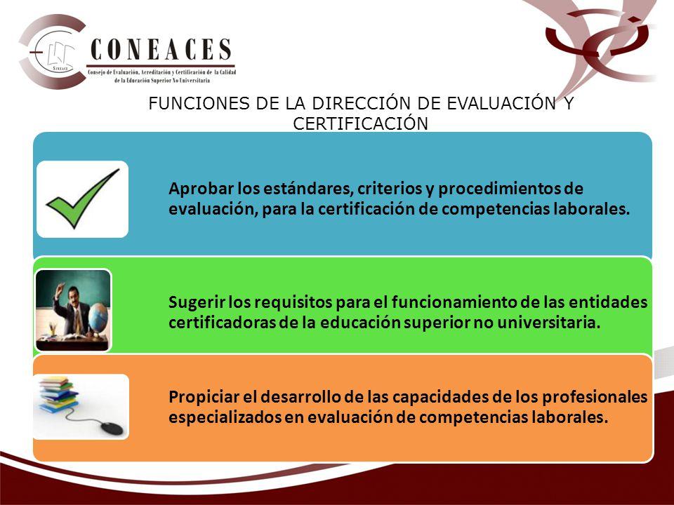 Aprobar los estándares, criterios y procedimientos de evaluación, para la certificación de competencias laborales. Sugerir los requisitos para el func