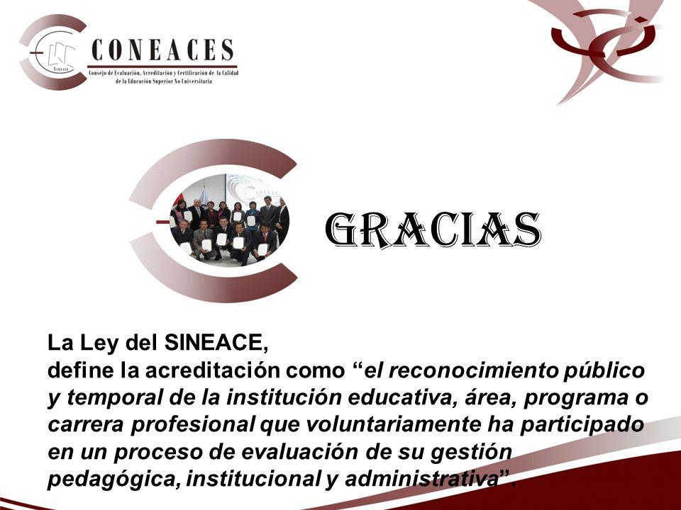 Gracias La Ley del SINEACE, define la acreditación como el reconocimiento público y temporal de la institución educativa, área, programa o carrera pro