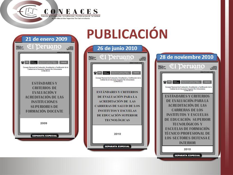 Los Estándares e Indicadores de Evaluación para el proceso de Acreditación en la Gestión Institucional y Académica de los Institutos y Escuelas de Educación Superior.