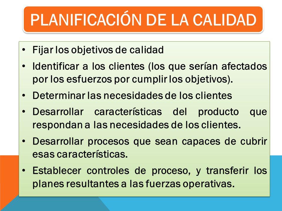 Fijar los objetivos de calidad Identificar a los clientes (los que serían afectados por los esfuerzos por cumplir los objetivos). Determinar las neces