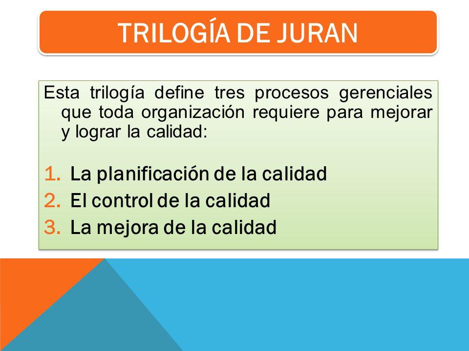 Esta trilogía define tres procesos gerenciales que toda organización requiere para mejorar y lograr la calidad: 1.La planificación de la calidad 2.El