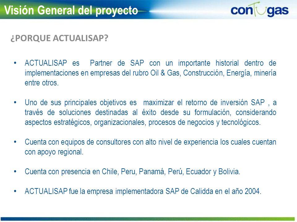 Visión General del proyecto ACTUALISAP es Partner de SAP con un importante historial dentro de implementaciones en empresas del rubro Oil & Gas, Const