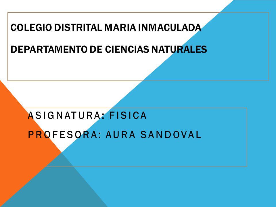 COLEGIO DISTRITAL MARIA INMACULADA DEPARTAMENTO DE CIENCIAS NATURALES ASIGNATURA: FISICA PROFESORA: AURA SANDOVAL
