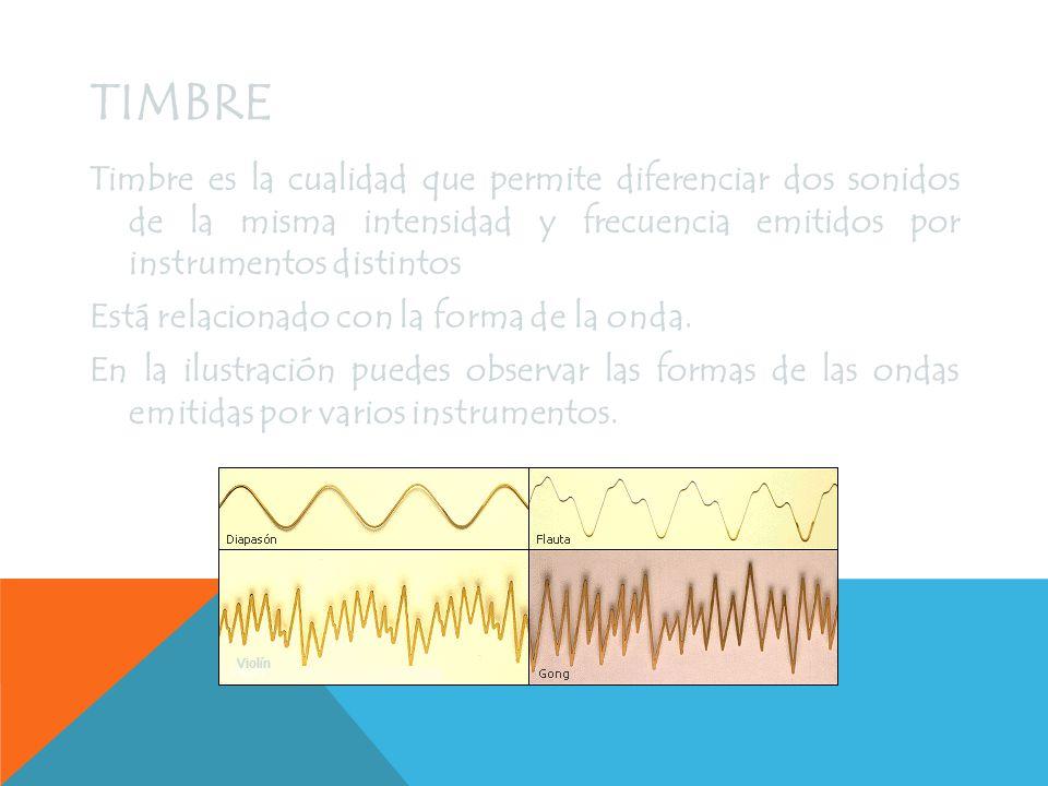 TONO 31 Hz 62 Hz 125 Hz 250 Hz 500 Hz 1000 Hz 2000 Hz 3000 Hz El tono de un sonido depende de la frecuencia de la vibración que lo provoca.