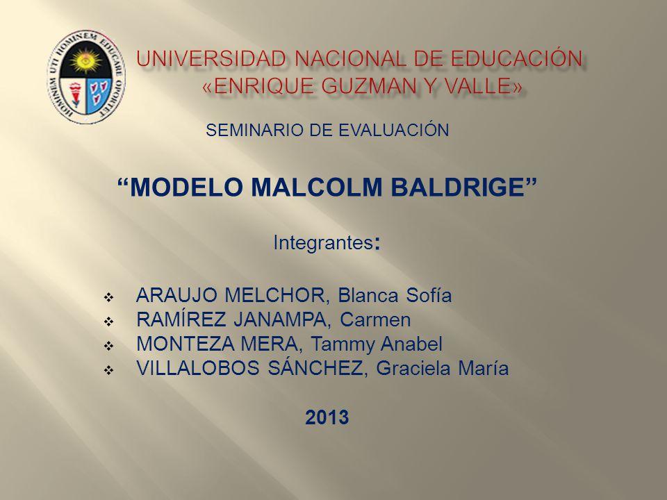 SEMINARIO DE EVALUACIÓN MODELO MALCOLM BALDRIGE Integrantes : ARAUJO MELCHOR, Blanca Sofía RAMÍREZ JANAMPA, Carmen MONTEZA MERA, Tammy Anabel VILLALOB