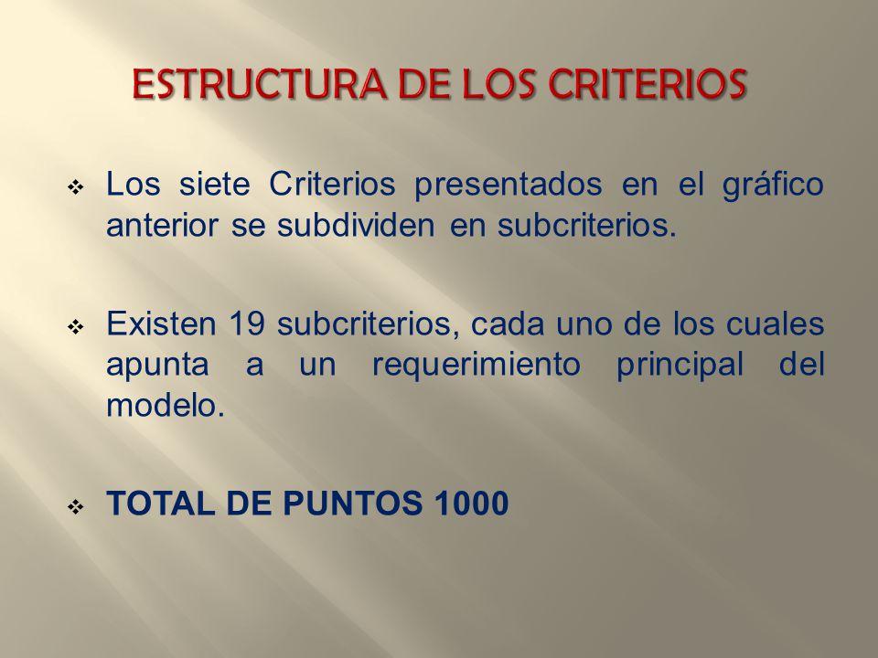 Los siete Criterios presentados en el gráfico anterior se subdividen en subcriterios. Existen 19 subcriterios, cada uno de los cuales apunta a un requ