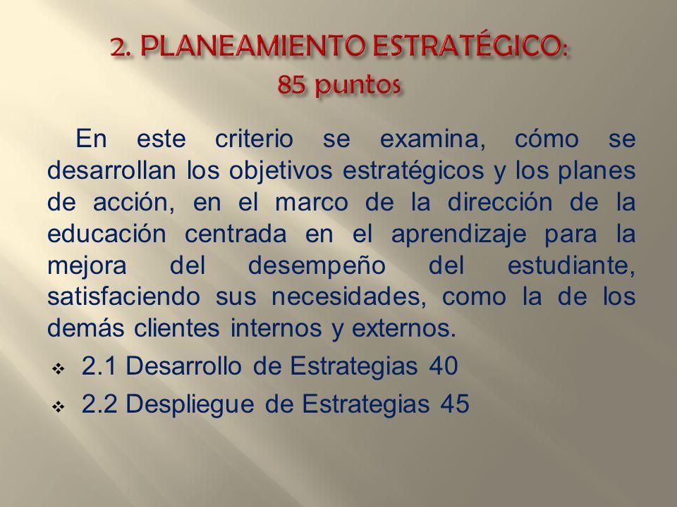 En este criterio se examina, cómo se desarrollan los objetivos estratégicos y los planes de acción, en el marco de la dirección de la educación centra