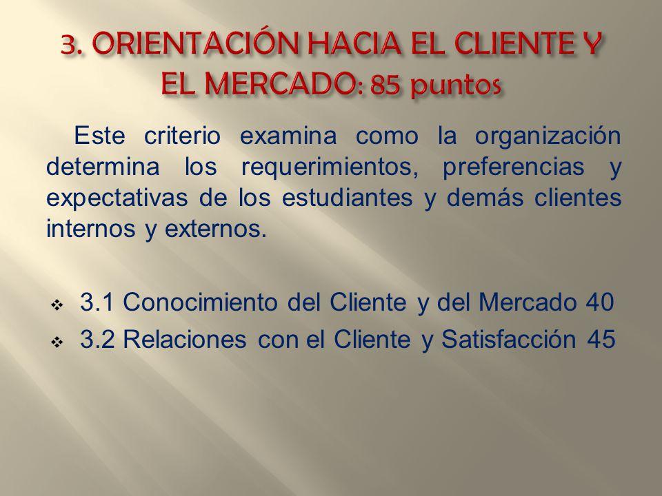 Este criterio examina como la organización determina los requerimientos, preferencias y expectativas de los estudiantes y demás clientes internos y ex
