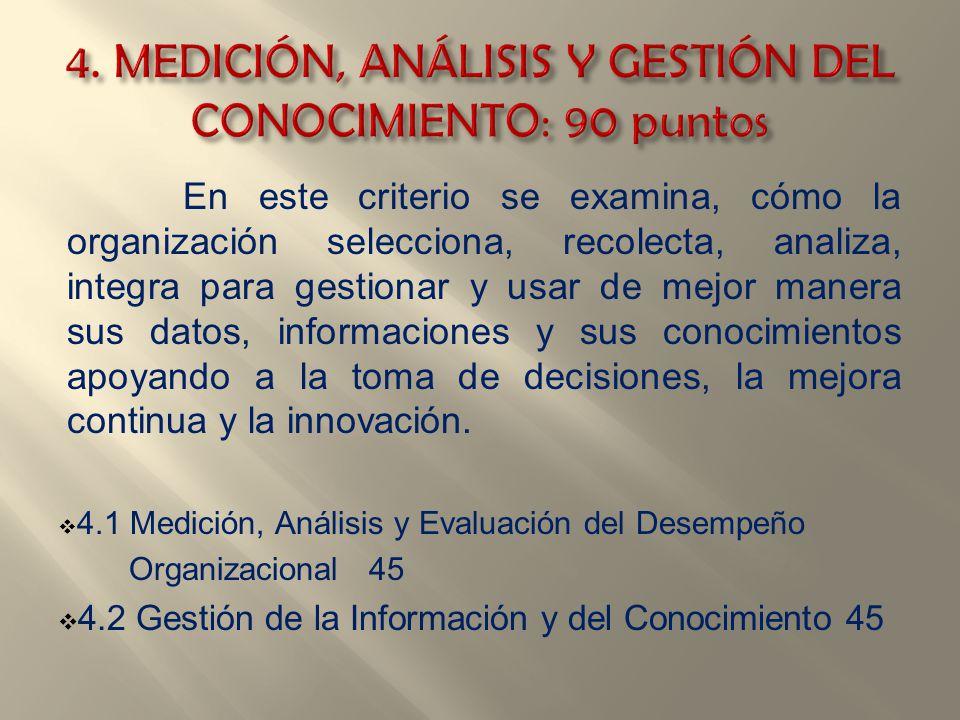 En este criterio se examina, cómo la organización selecciona, recolecta, analiza, integra para gestionar y usar de mejor manera sus datos, informacion