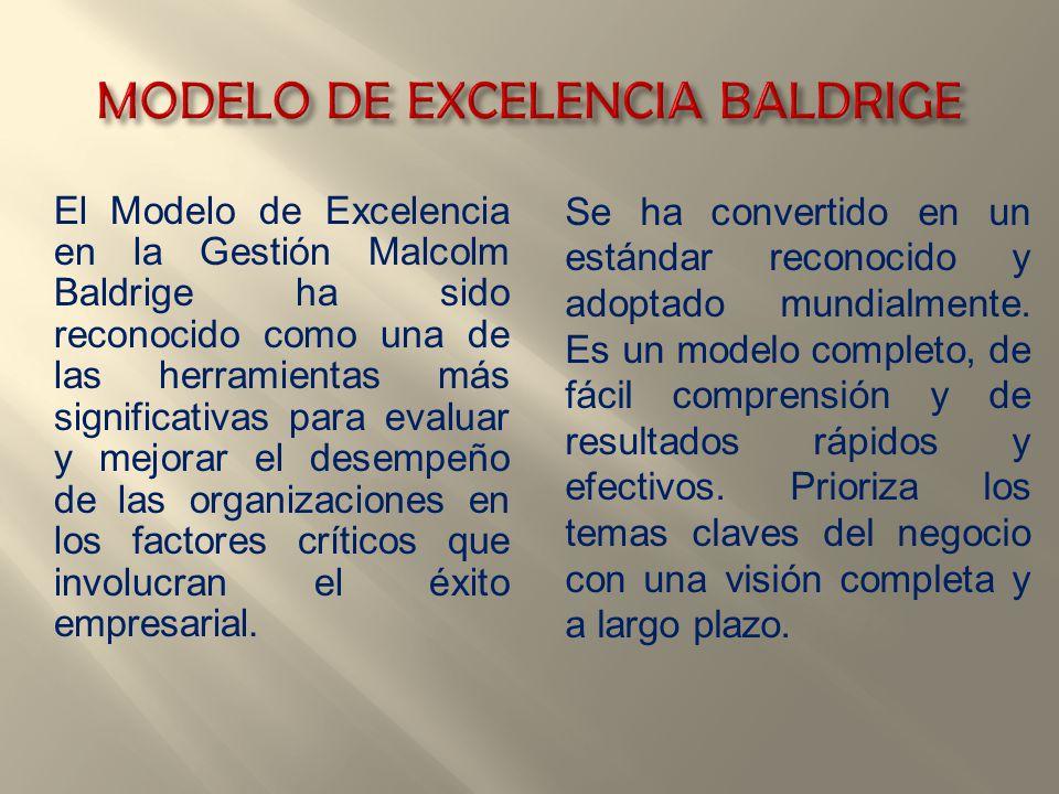 El Modelo de Excelencia en la Gestión Malcolm Baldrige ha sido reconocido como una de las herramientas más significativas para evaluar y mejorar el de