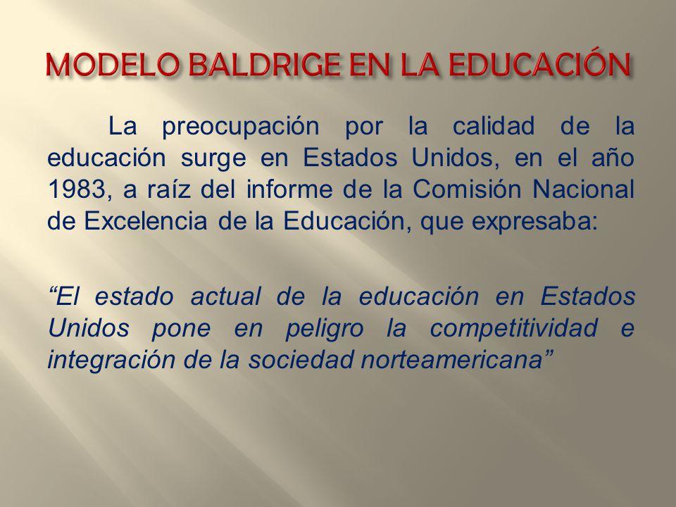 La preocupación por la calidad de la educación surge en Estados Unidos, en el año 1983, a raíz del informe de la Comisión Nacional de Excelencia de la