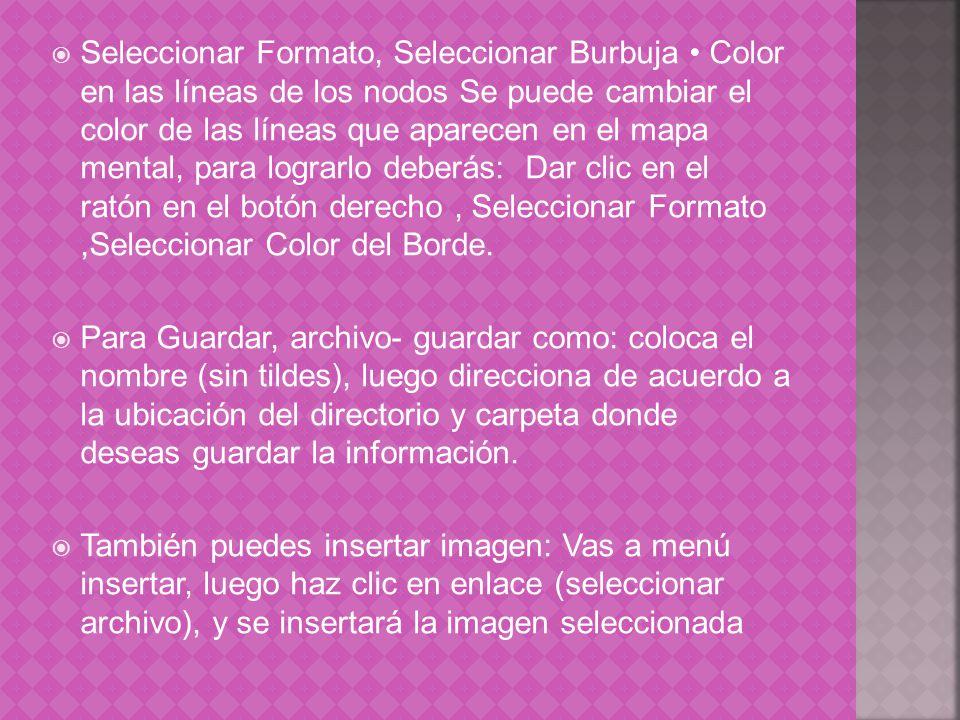 Seleccionar Formato, Seleccionar Burbuja Color en las líneas de los nodos Se puede cambiar el color de las líneas que aparecen en el mapa mental, para