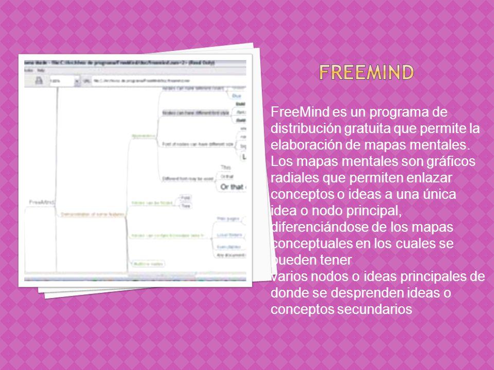 FreeMind es un programa de distribución gratuita que permite la elaboración de mapas mentales. Los mapas mentales son gráficos radiales que permiten e