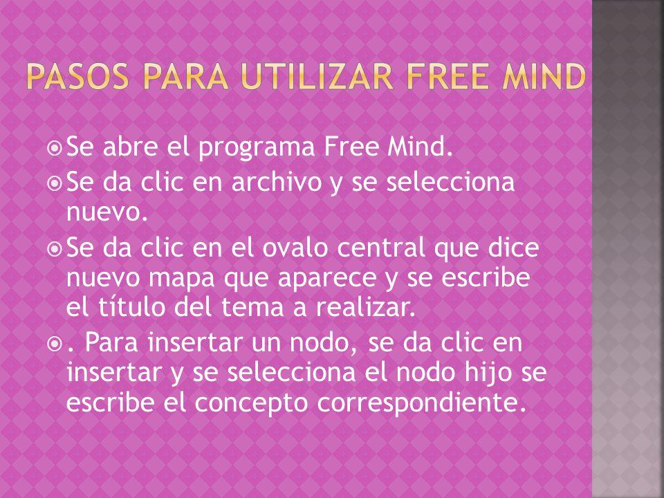 Se abre el programa Free Mind. Se da clic en archivo y se selecciona nuevo. Se da clic en el ovalo central que dice nuevo mapa que aparece y se escrib