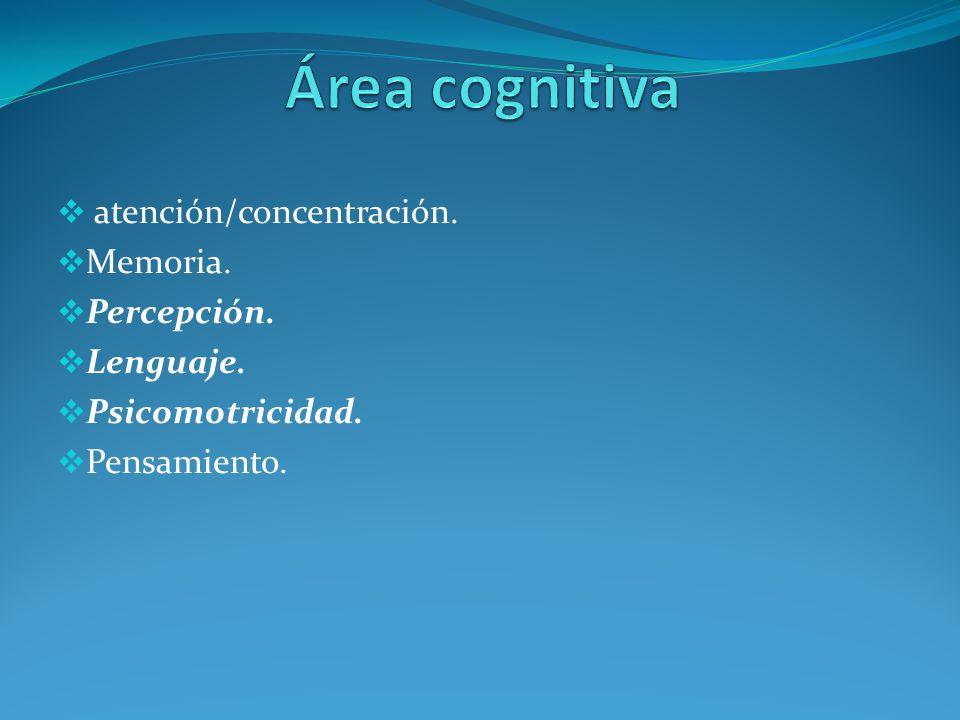 atención/concentración. Memoria. Percepción. Lenguaje. Psicomotricidad. Pensamiento.
