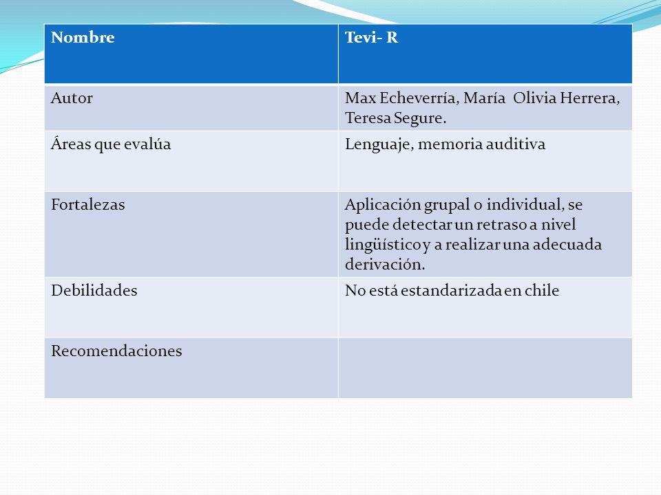 NombreTevi- R AutorMax Echeverría, María Olivia Herrera, Teresa Segure.