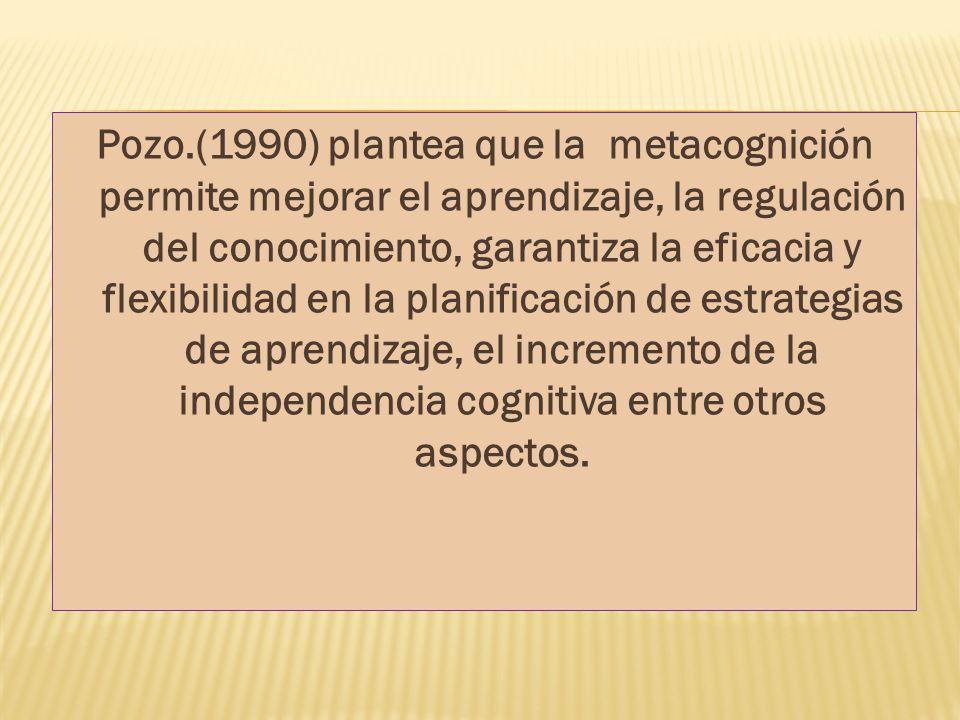 Pozo.(1990) plantea que la metacognición permite mejorar el aprendizaje, la regulación del conocimiento, garantiza la eficacia y flexibilidad en la pl