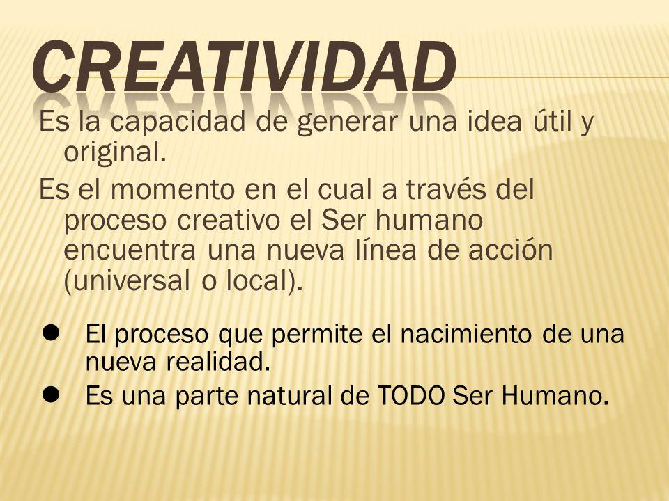 Es la capacidad de generar una idea útil y original. Es el momento en el cual a través del proceso creativo el Ser humano encuentra una nueva línea de
